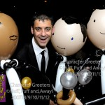 Radio celebrity Phil Upton with our balloon Rat Pack: Sammy, Frank and Dean, Character Greeters by Huff, Puff and Away!