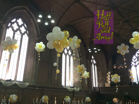 Balloon decor in the fabulous King's Hall at Worcester Cathedral
