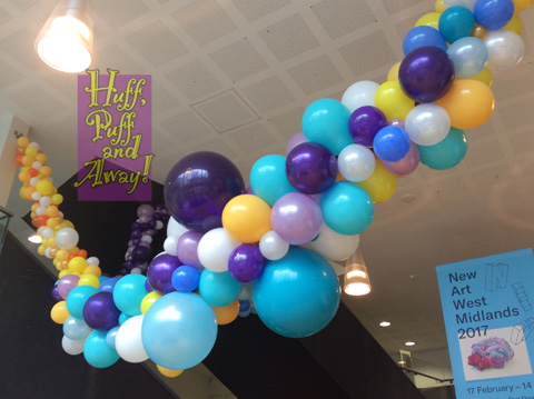 Organic Balloon Garland installed for Disabled Access Day at the Midlands Arts Centre