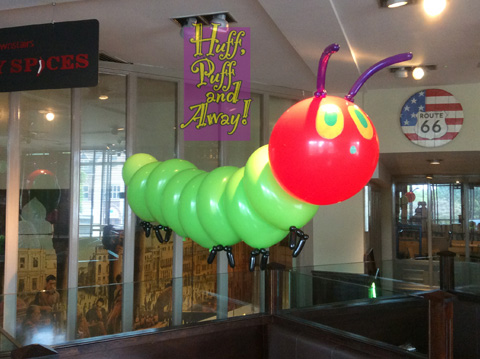 balloon Hungry Caterpillar for child's birthday party