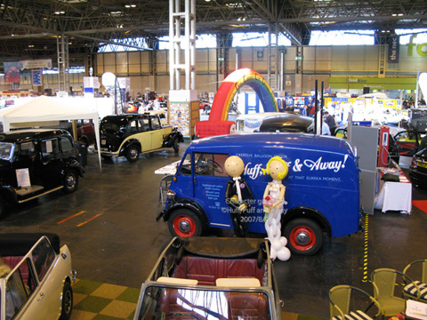 Our lovely Morris J-type van on display at the Classic Motor Show at the NEC. We couldn't resist showing examples of our Character Greeters, which seemed to be photographed as often as any car in the Hall!