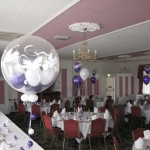 Strawberry Bank Hotel: Wedding decor in quartz purple and white, using 'doves around' for double bubbles and Studley Bubbles.