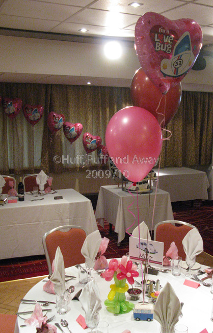 Drayton Manor: The Hamilton Suite decorated with mixed foil and latex 3-balloon Clusters, a foil-balloon arch and a Topiary Ball. Decor by Huff, Puff and Away!