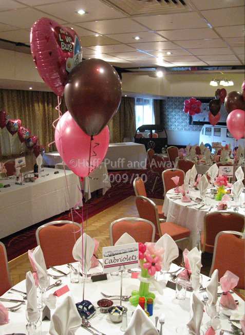 Drayton Manor: The Hamilton Suite decorated with mixed foil and latex 3-balloon Clusters, an arch and a Topiary Ball. Decor by Huff, Puff and Away!